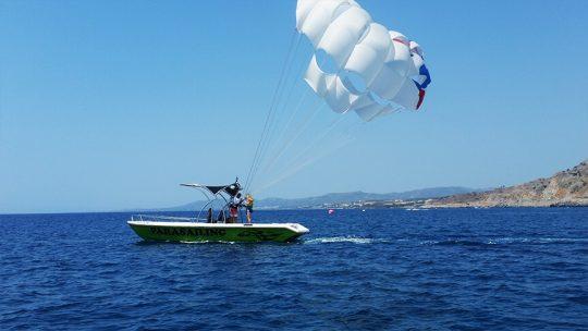 Green parasailing boat rhodes